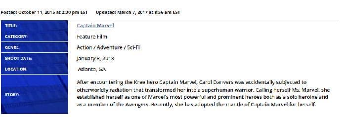 Confirmada el inicio del rodaje de la película 'Capitana Marvel'
