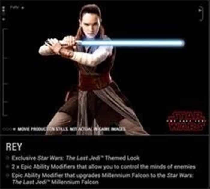 Rey en 'Star Wars: Los Últimos Jedi' a través de 'Battlefront II'