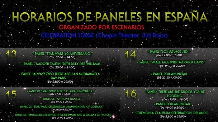 "Horarios de la ""Star Wars Celebration"""