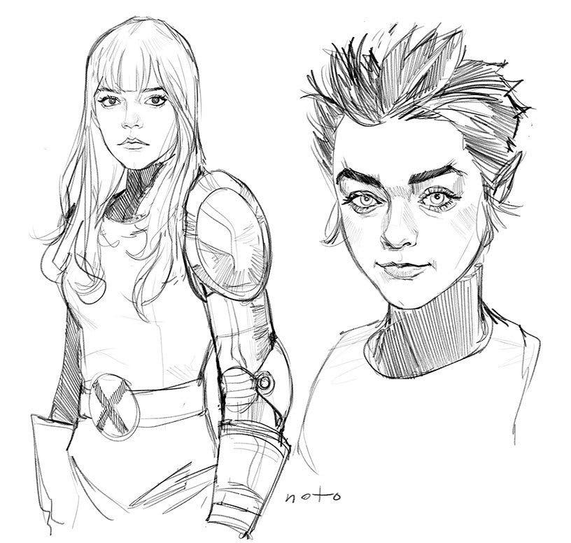 Diseños de Anya Taylor-Joy y Maisie Williams como Magik y Wolfsbane en 'X-Men: New Mutants'