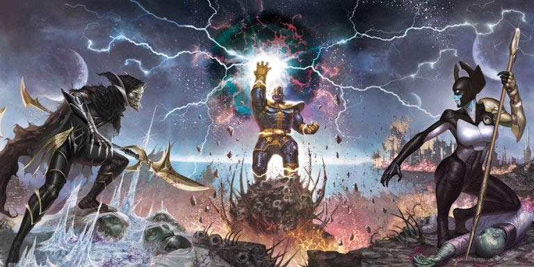 Thanos con Corvus Glaive y Proxima Midnight