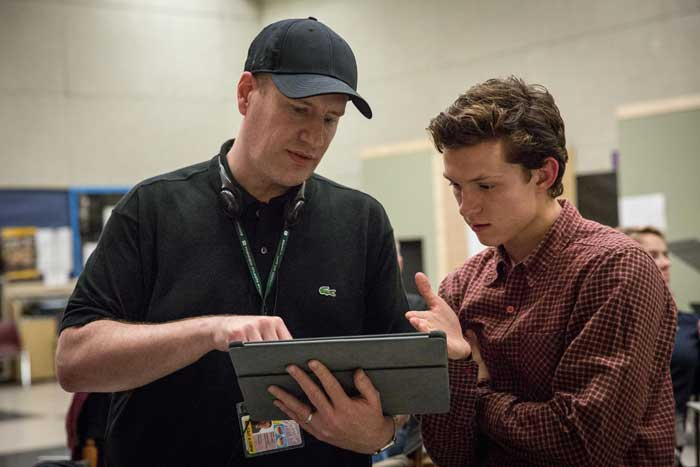 spider-man: homecoming Tom Holland junto a Kevin Feige