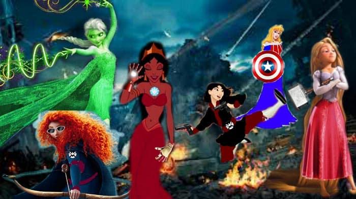 Los Vengadores con las Princesas Disney