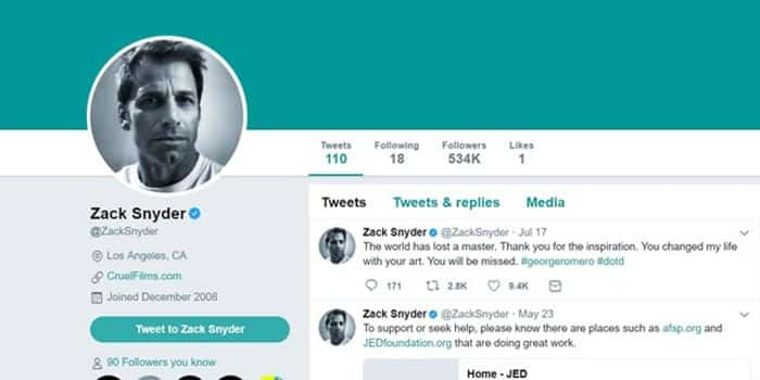 Zack Snyder en Twitter