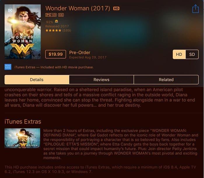 Wonder Woman en Digital HD
