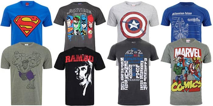 ¡20% de descuento en camisetas de superhéroes y merchandising friki!