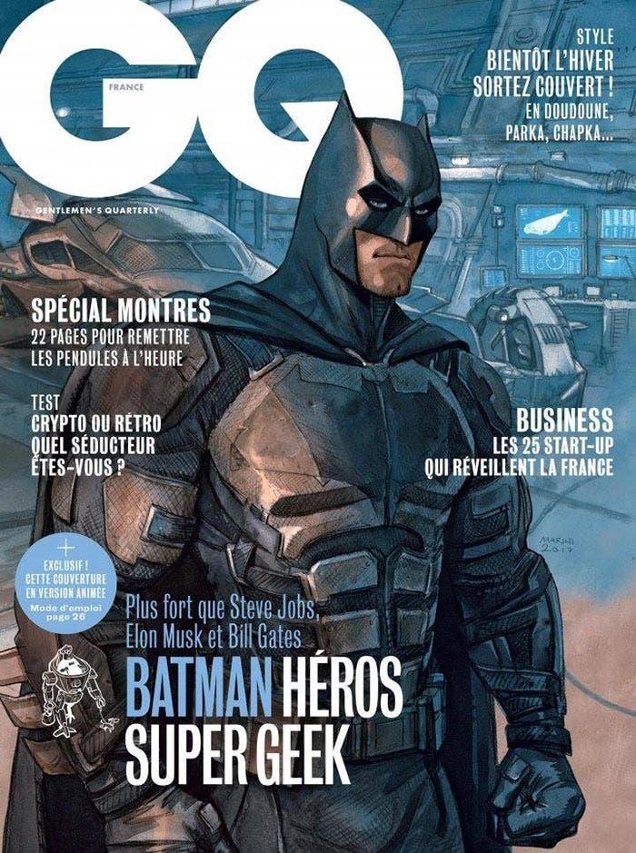 Portada de la revista GQ con el Batman de Ben Affleck en la Liga de la Justicia (2017)