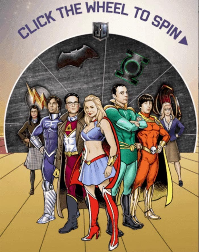 Póster de The Big Bang Theory con la Liga de la Justicia (2017)