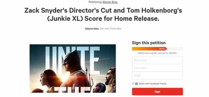 Firmas para la Director's Cut en la Liga de la Justicia (2017)