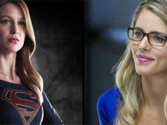 Melissa Benoist (Supergirl) y Emily Bett Rickards (Felicity Smoak)