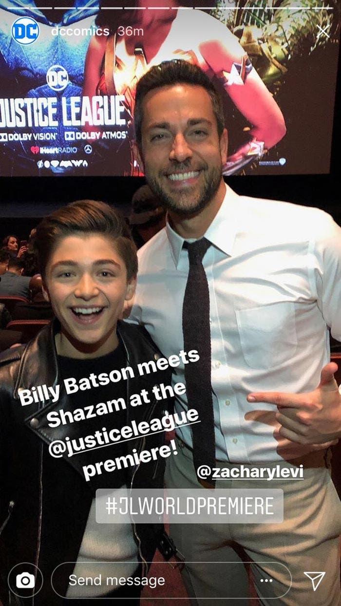 Shazam y Billy Batson en la premiere de la Liga de la Justicia