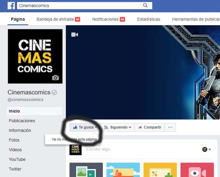 ME GUSTA en el Facebook de CINEMASCOMICS