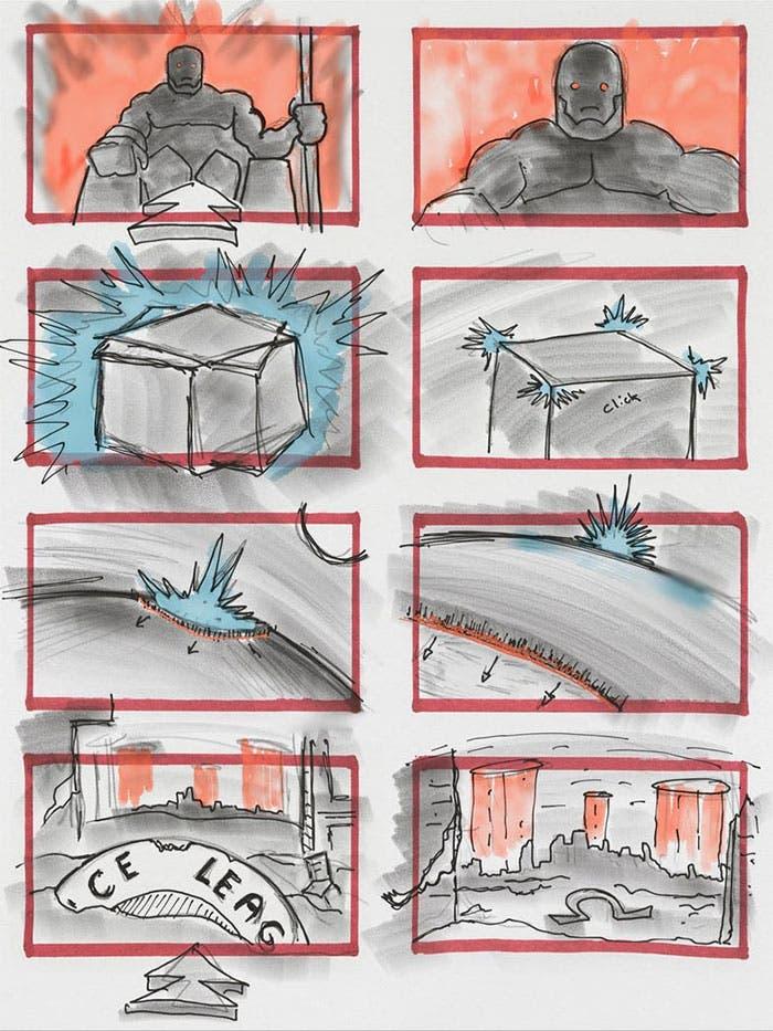 Escena eliminada de Darkseid en el storyboard de la Liga de la Justicia