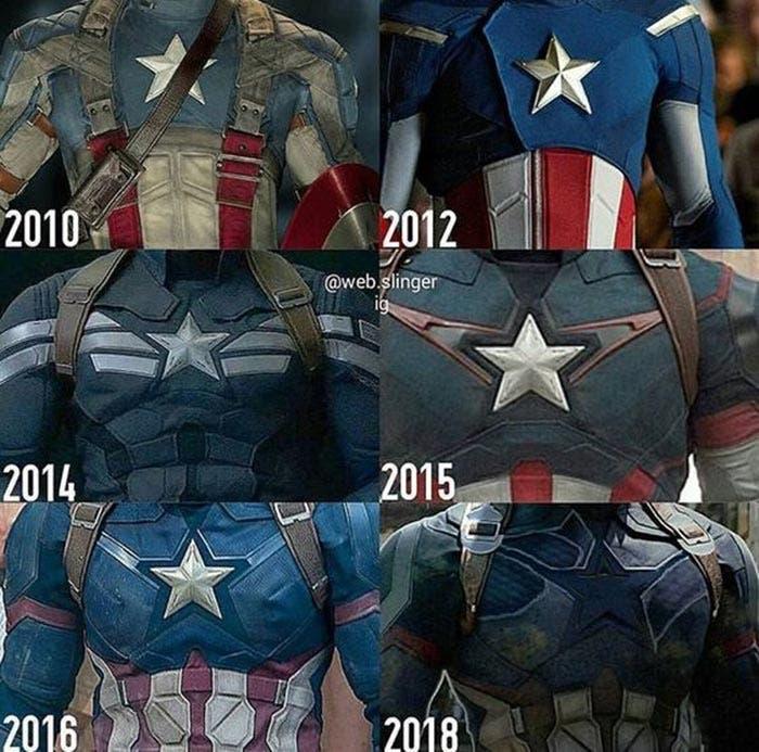 Los 6 trajes de Capitán América antes de Vengadores: Infinity War (2018)