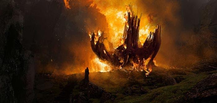 El primer Templo Jedi quemado en Star Wars: Los Últimos Jedi (2018)