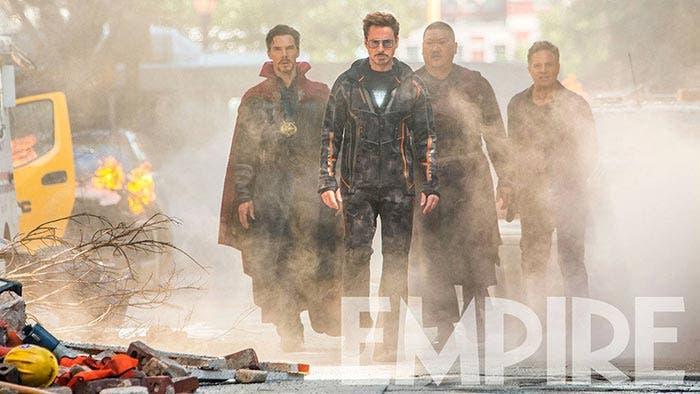 La épica escena de Vengadores: Infinity War (2018) con cuatro superhéroes
