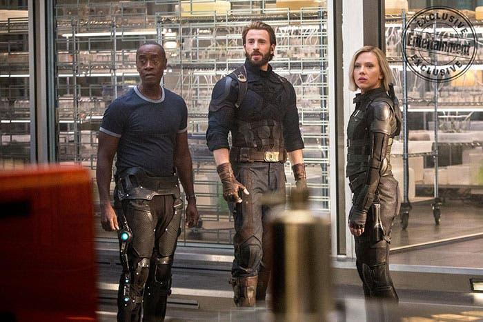Falcon, Capitán América y Viuda Negra en Vengadores: Infinity War (2018)