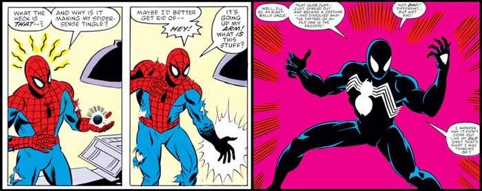 Primera aparición del traje negro de Spider-man en secret Wars