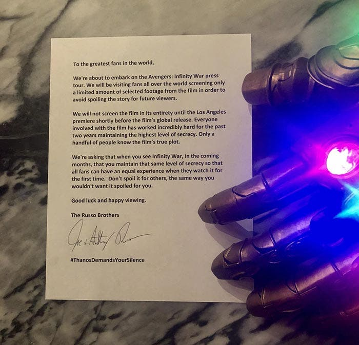 La carta de Thanos en Vengadores: Infinity War (2018)