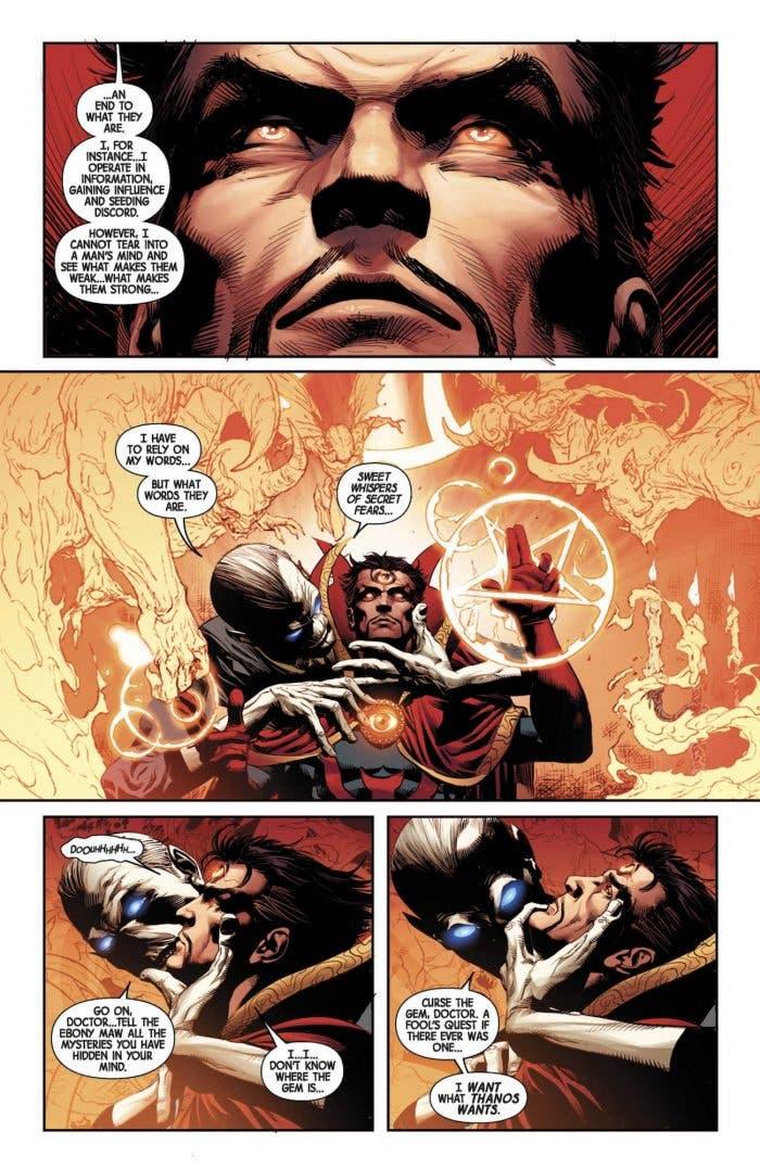 Ebony Maw torturando a Doctor Strange