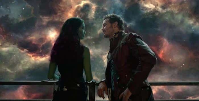 Gamora y Star-Lord en Guardianes de la Galaxia Vol. 2