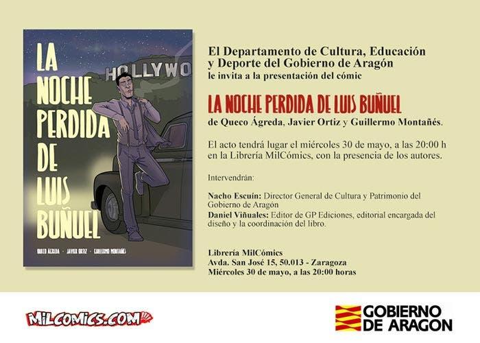 Invitación en MilCómics para la presentación de La noche perdida de Luis Buñuel