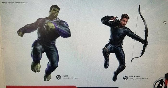 Arte conceptual de Vengadores 4 (2019) con Hulk y Ojo de Halcón