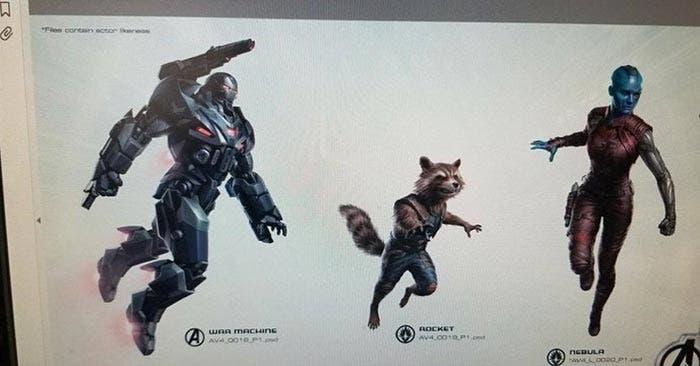 Arte conceptual de Vengadores 4 con Máquina de Guerra, Rocket y Nébula