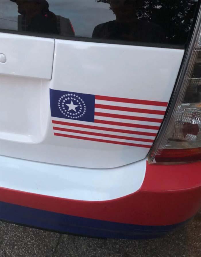 La bandera de USA en la serie de Watchmen de HBO