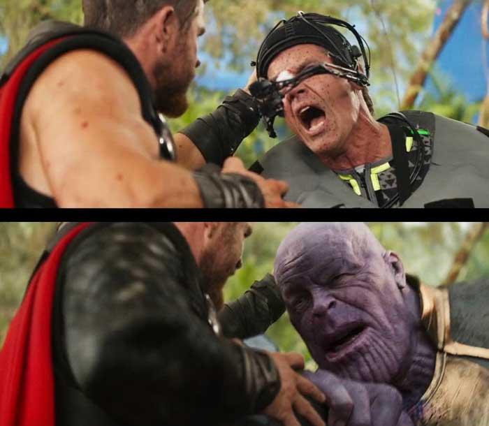Imagen de Thanos en 'Vengadores: Infinity War' con y sin VFX.