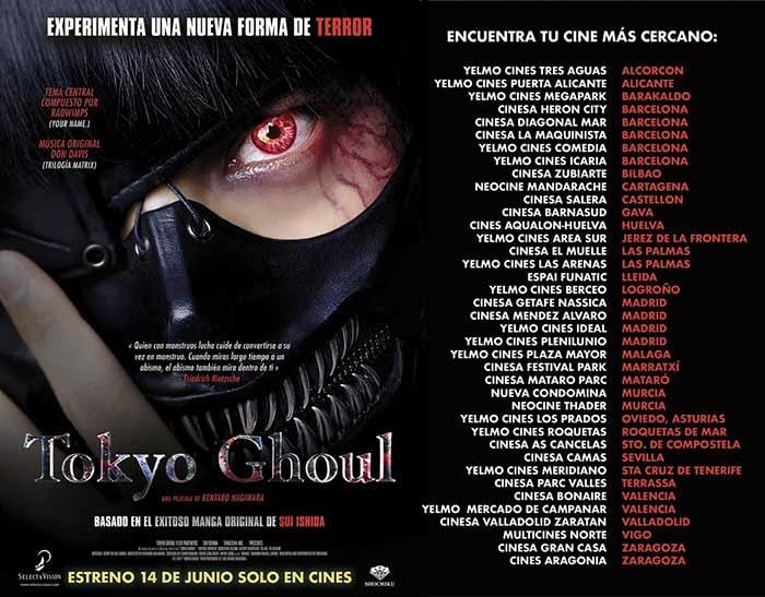 Lista de cines en España para ver la película Tokyo Ghoul en acción real