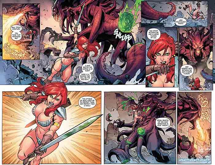 Viñetas de Red Sonja: A mundos de distancia