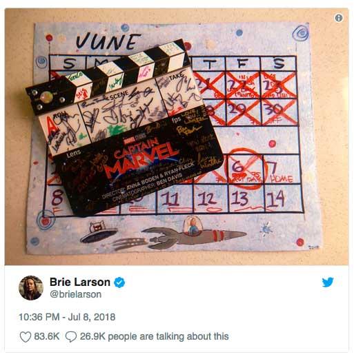 fin rodaje capitana marvel Brie Larson