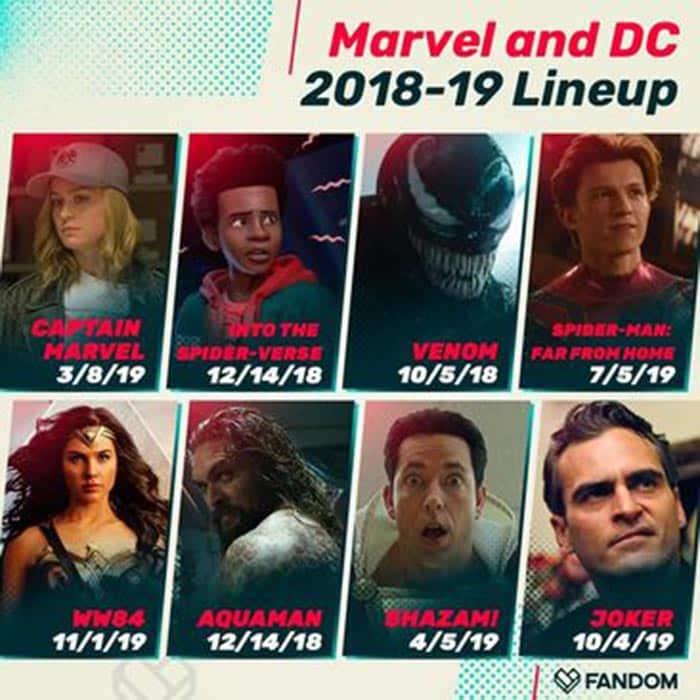 11 próximas películas de superhéroes de Marvel y DC Comics