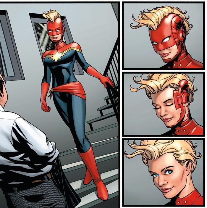 Capitana Marvel con casco y cresta