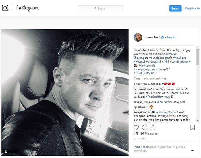 Los hashtags de Jeremy Renner en Vengadores 4 (2019)