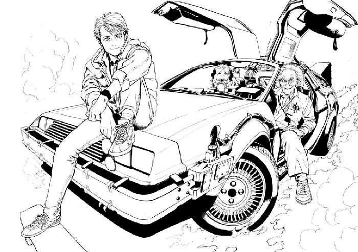 marti McFly, Doc y Einstein en el delorean