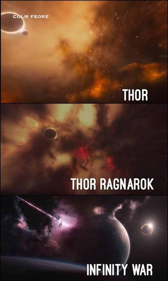 Vormir en Thor (2011), Thor: Ragnarok (2017) y Vengadores: Infinity War (2018)