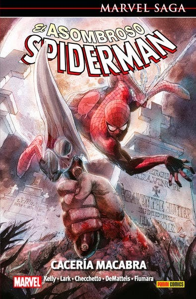 Portada de el asombroso spiderman: cacería macabra editado por Panini Comics