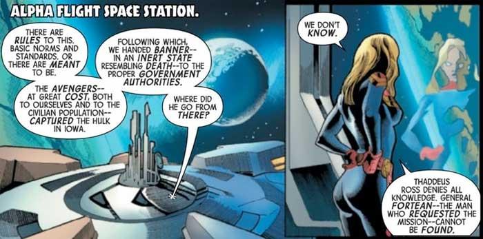 Capitana Marvel crea un equipo para cazar a Hulk