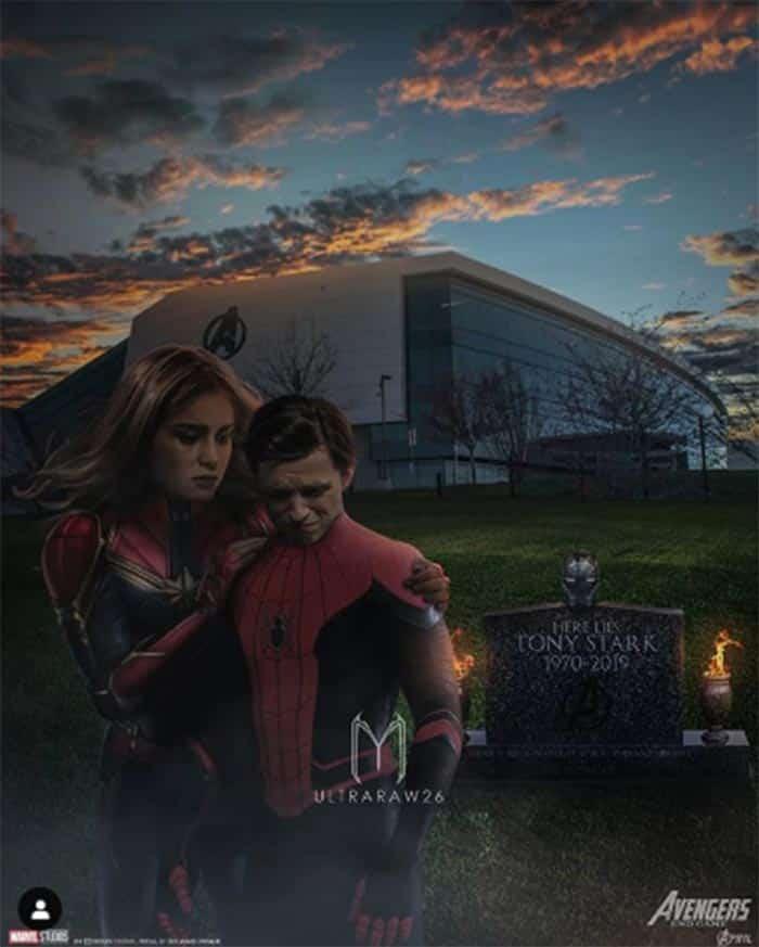Fan art de Spider-Man y Capitana Marvel en Vengadores: Endgame