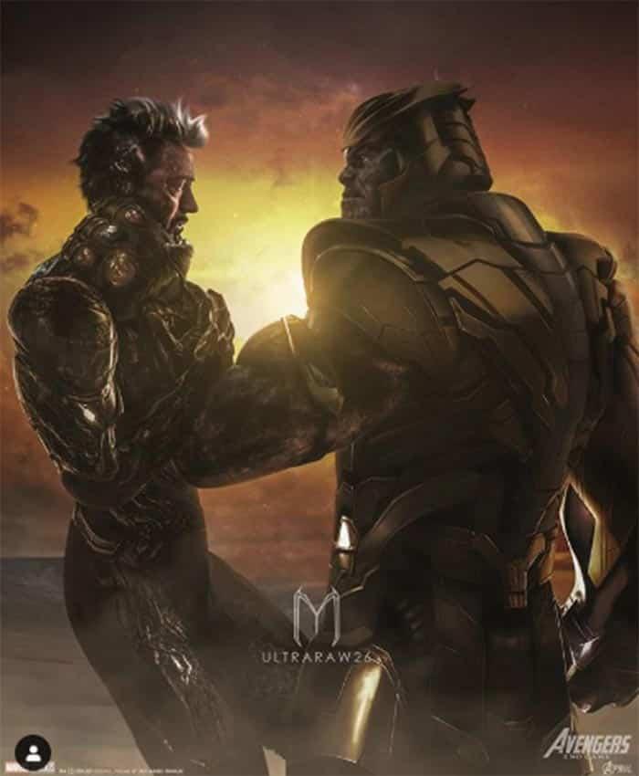 Fan art de Thanos matando a Iron Man en Vengadores: Endgame