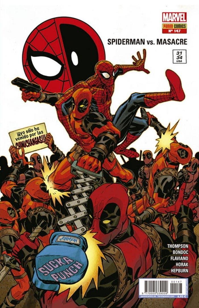 Portada de El Asombroso Spiderman 147 (Marvel - Panini) junto a Deadpool