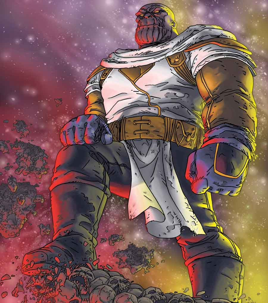 Espectacular Fan Art de Thanos en Vengadores: Endgame con el traje de Aniquilación