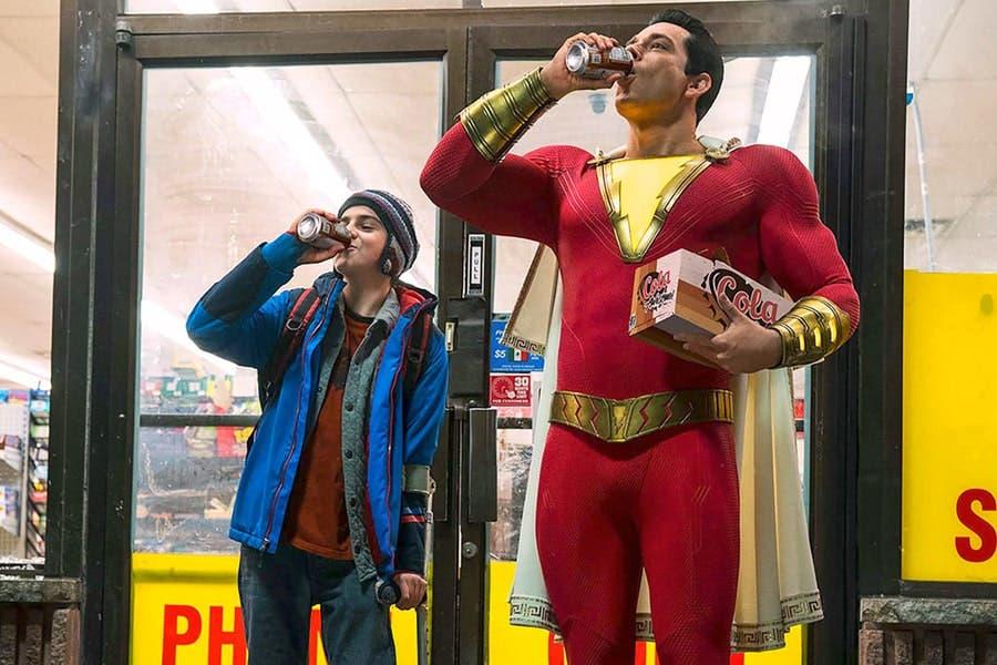 SHAZAM! JACK DYLAN GRAZER as Freddy Freeman and ZACHARY LEVI as Shazam