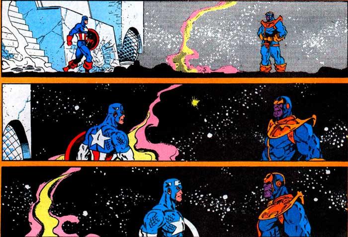Marvel Capitán América cara a cara con Thanos