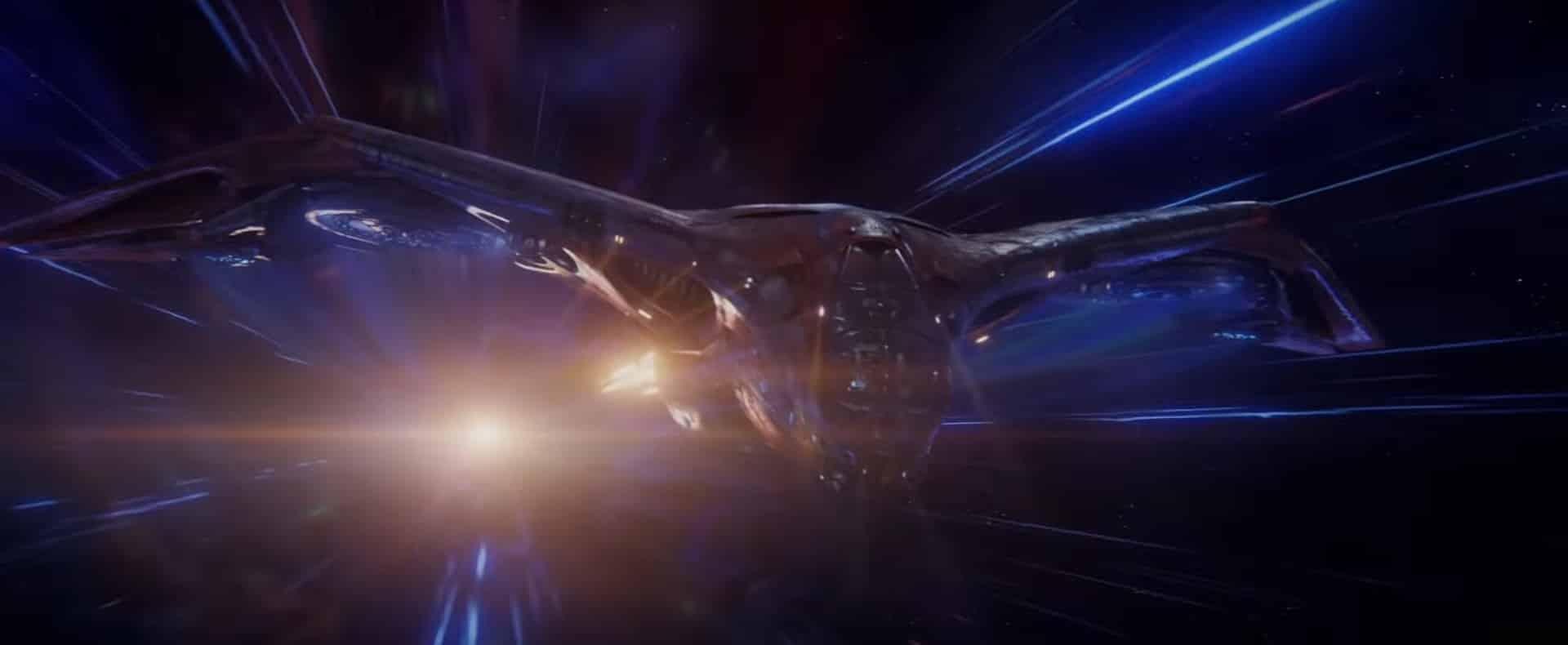 Marvel: Vengadores: Endgame. La milano en el espacio dando un salto en el espacio