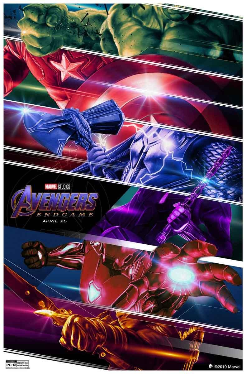 Póster de Vengadores: Endgame centrado en las armas de los 6 héroes