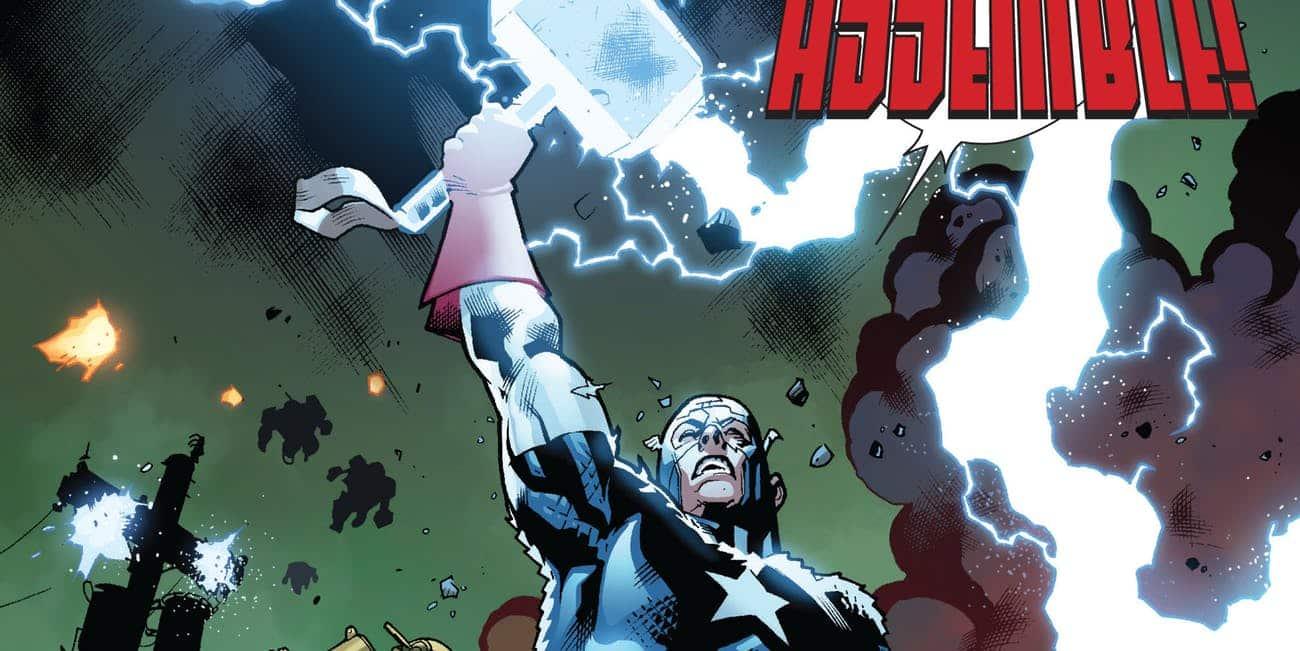 Capitán América con el Mjolnir