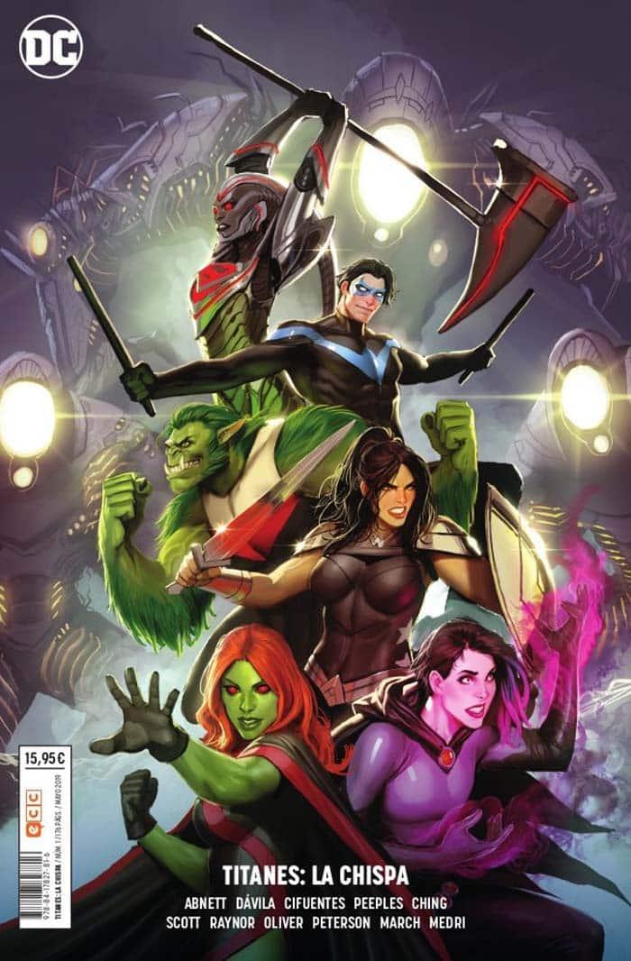 Portada DC comics editado por ECC ediciones de Titanes: La Chispa